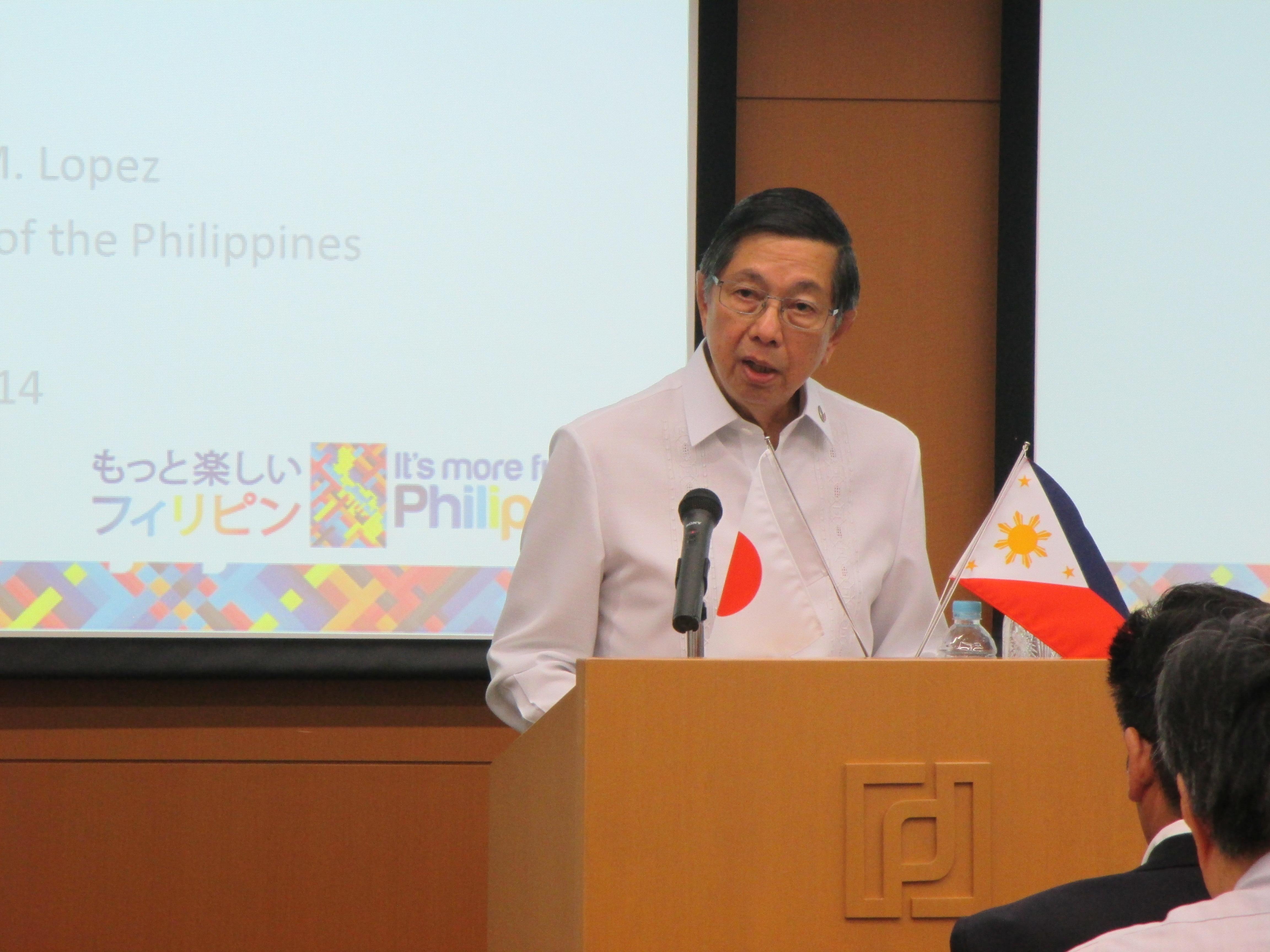 駐日フィリピン共和国 特命全権大使 マヌエル・モレノ・ロペス閣下