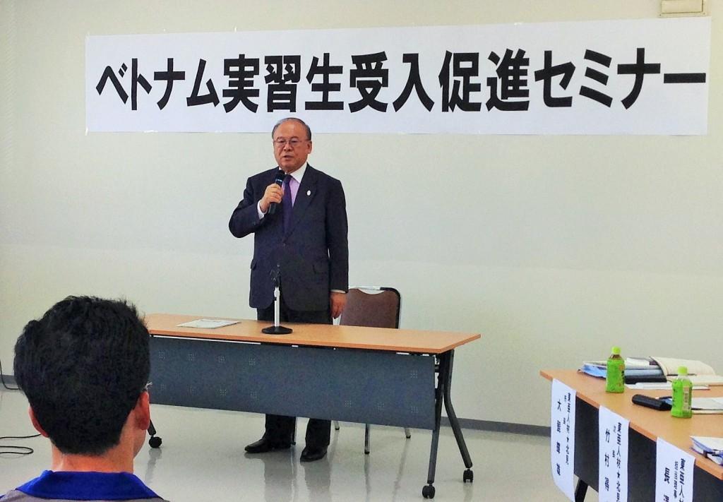 武部勤代表理事会長による開会挨拶(2015.5.31 枝幸町)